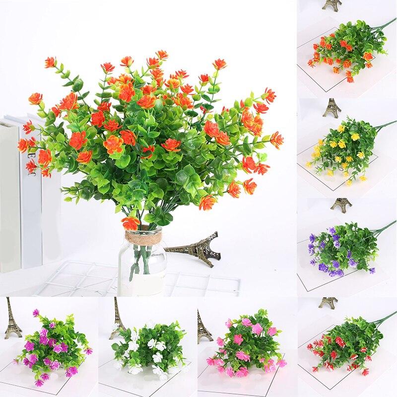 Decoración del hogar hojas de eucalipto plantas falsas Camelia rosas de plástico 7 tenedores hermosa flor falsa