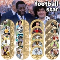 soccer player maradonapele gold plated commemorative coin set with coin holder football challenge coins souvenir gift for him