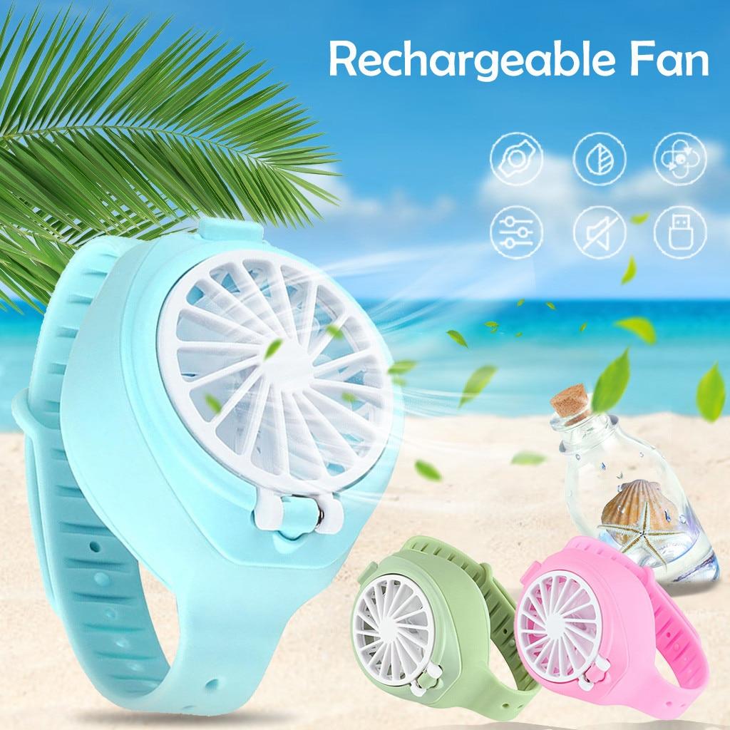 Mini ventilador plegable USB de bolsillo de moda colorido para casa inteligente portátil multifunción para verano tercer engranaje Mini reloj eléctrico ventilador sencillo