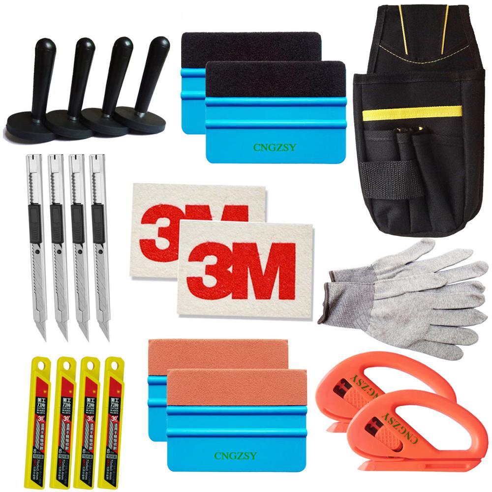 Kit de herramientas profesional estándar CNGZSY, Combo de bolsa de envoltura de vinilo para coche, escobilla de afeitar, guante de 4 imanes, cuchilla para arte, cuchillas 3M, escobilla de gamuza de lana K27