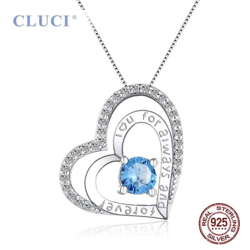 Colgante con forma de corazón de Plata de Ley 925 CLUCI para mujer, amuletos de Plata de Ley 925 con circonita azul para regalo del Día de San Valentín