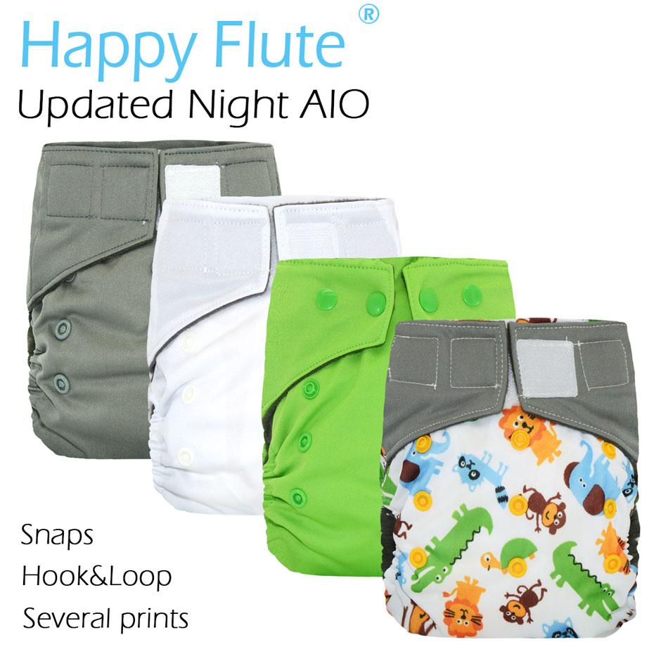 Подгузники Happy Flute OS, обновленная Ночная ткань AIO с прошитой вставкой, внутренняя отделка из древесного бамбука, s m l регулируемая, высокая Абс...