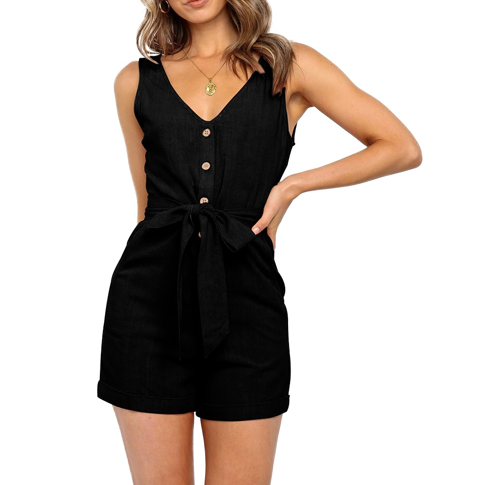 Women Jumpsuit Sexy V Neck Sleeveless Button Sashes Cotton Playsuits Casual Slim Pocket Pink Black Short Femme Rompers