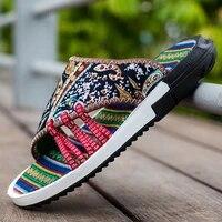2021 retro printed mens flip flops new arrivals summer slippers for men casual non slip outdoor flip flops man chanclas hombre