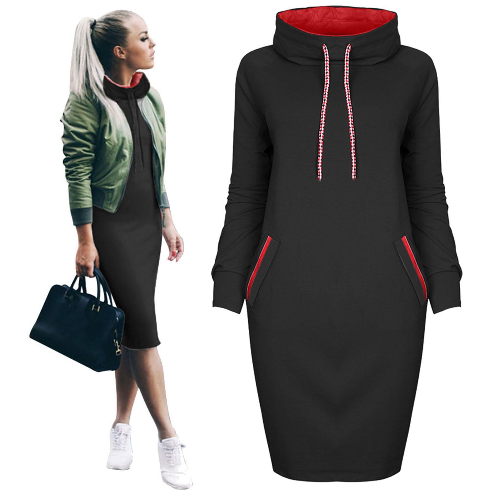 Женское осеннее теплое платье с капюшоном, повседневное зимнее платье-рубашка, женское облегающее платье-свитшот с длинным рукавом, вечерние платья, Прямая поставка, 2021