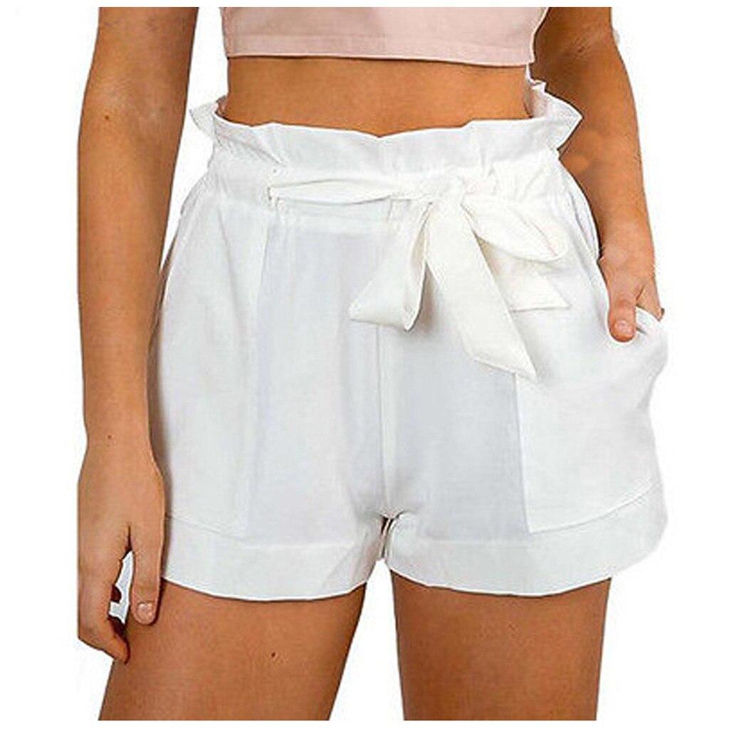 2020 Shorts mulheres Novo Estilo Moda Sólidos Lady Hot Sexy Verão Casual Cintura Alta Tipo Praia Arco шорты женские летние
