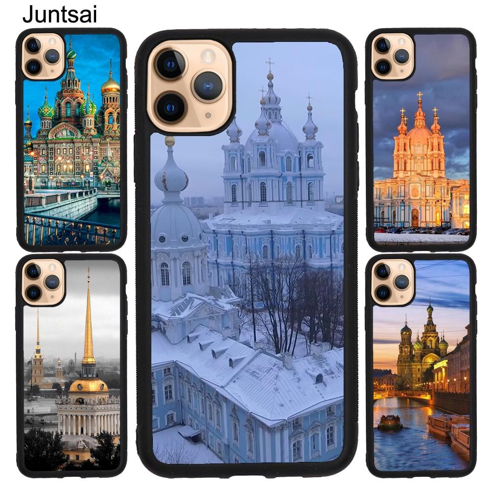 San Petersburgo Smolny convento caso para iPhone XS Max X XR 5S SE 2020 6 7 8 Plus 11 Pro Max TPU Coque Capa