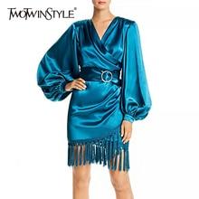 Deuxtwinstyle Patchwork gland femmes robe col en V lanterne à manches longues taille haute à lacets robes femme 2020 automne mode nouveau