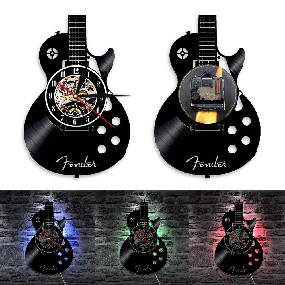 Guitarra acústica musical instrumento silencio vinilo registro Reloj de pared casa decoración de Bar grande moderno reloj Horloge