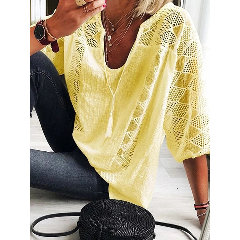 2021 New Summer Women Blouse Hollow Out Casual Loose Female Shirt Fashion Solid Pullover V Neck Wome