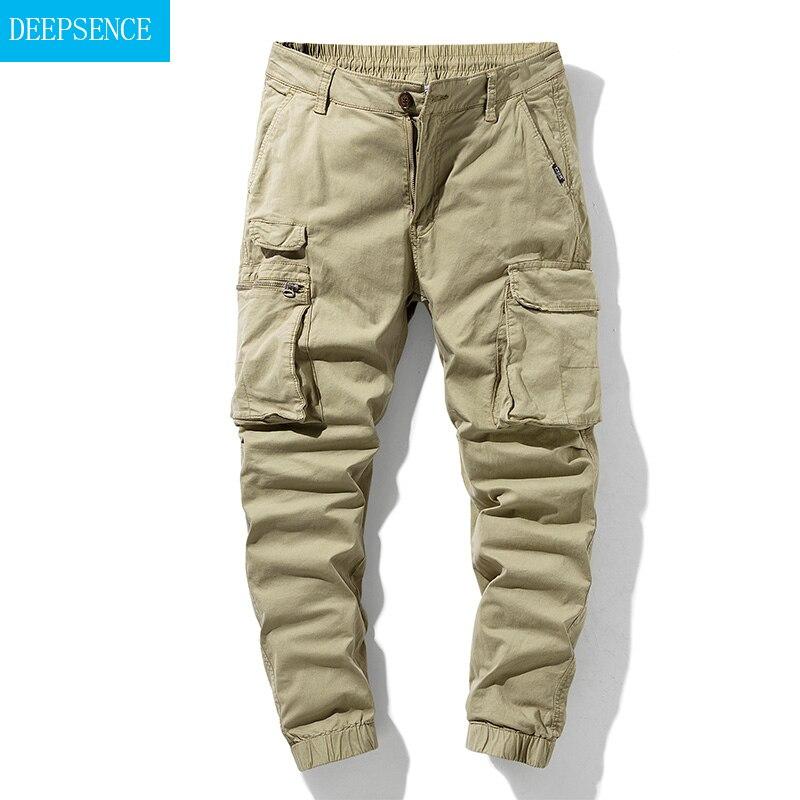 2021 New Big Side Pocket Men's Trousers Overalls Summer Casual Pants Men's Overalls Elastic Band Ove