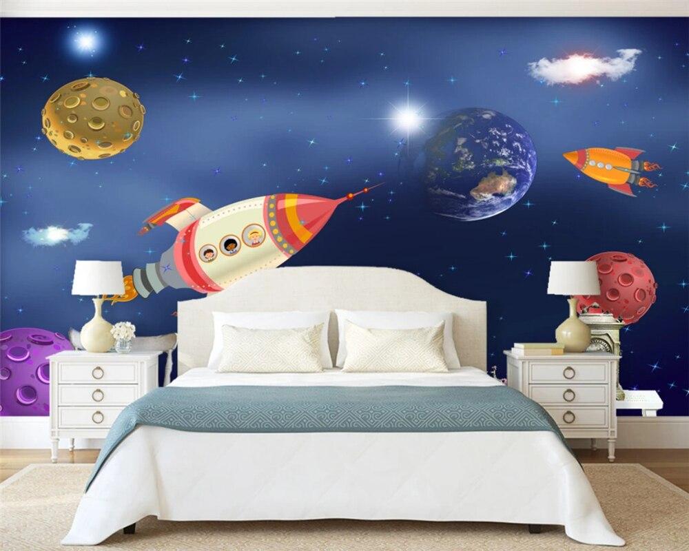 Beibehang personnalisé moderne décoratif peinture soyeux papier peint minimaliste nordique dessiné à la main vaisseau spatial fond papier peint