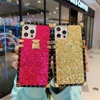 fashion bling shiny glitter square design back case cover for iphone 12 mini xs 11 12 pro max se x xr 7 8 6 6s plus se fundas