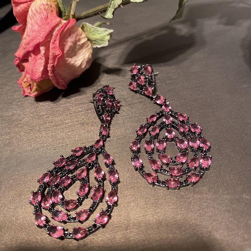 Vintage vermelho cz brincos longos zircônia cúbica vermelha jóias de moda