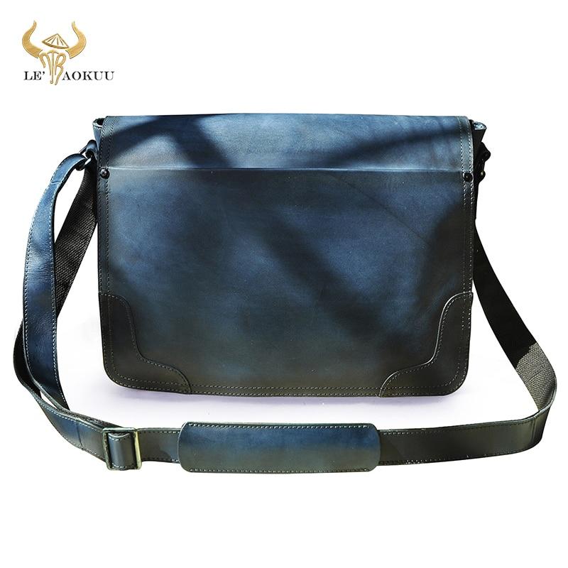 موضة الأزرق جلد طبيعي الذكور السفر حقيبة ساعي حقيبة 13