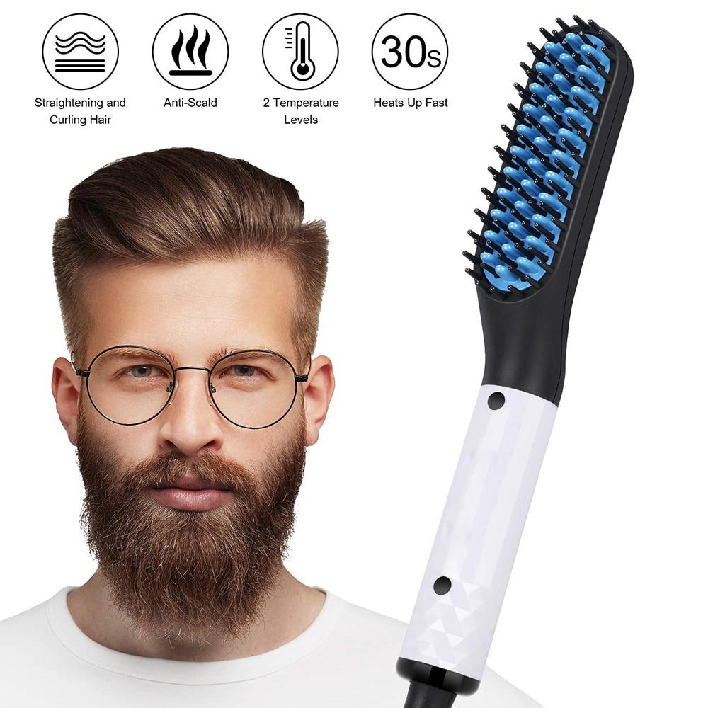 Electric Comb Straightener Men Beard Straightener Hair Comb Brush Smoothing Iron Hot Comb Straightening Brush Beard Hair Styler