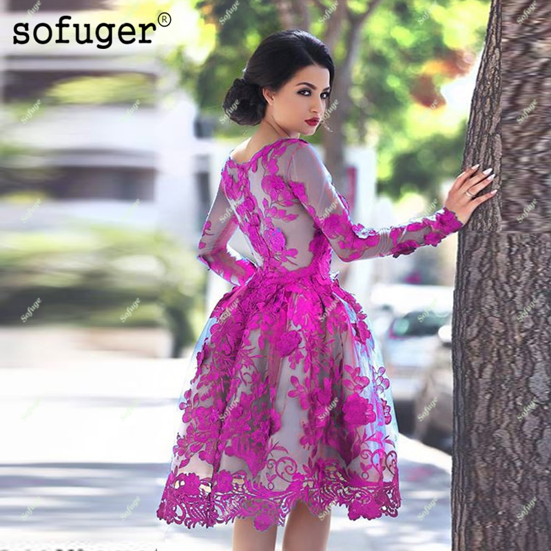 Fuschia Elegant Cocktail Dresses A-line Long Sleeves Appliques Illusion Bodice Lace Party Graduation Homecoming Dresses Plus