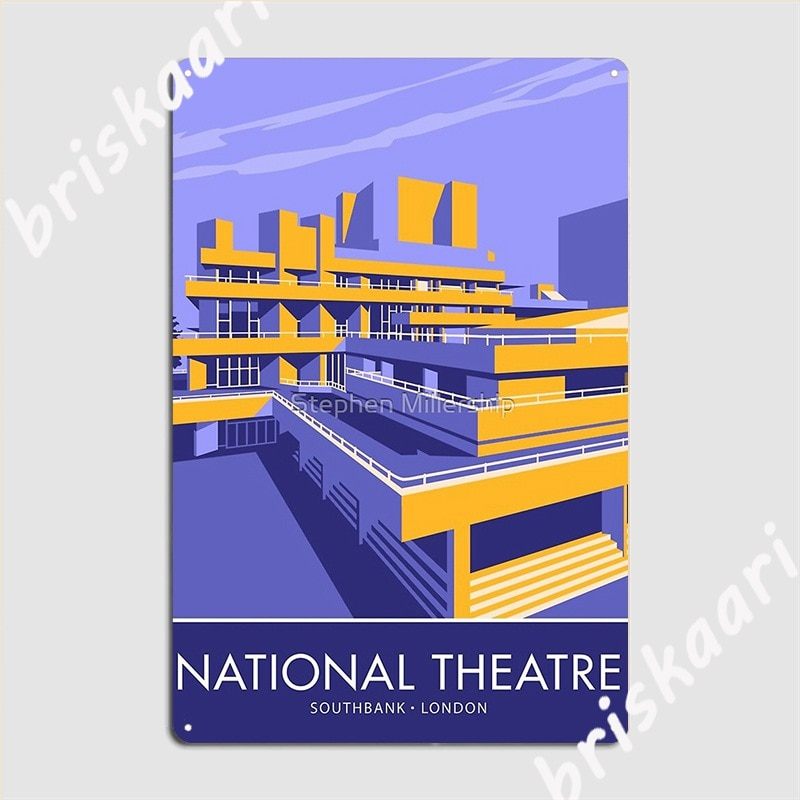 The National Theatre South Bank London Metal Sign Plaques Club Bar Printing Cinema Living Room Tin Sign Poster