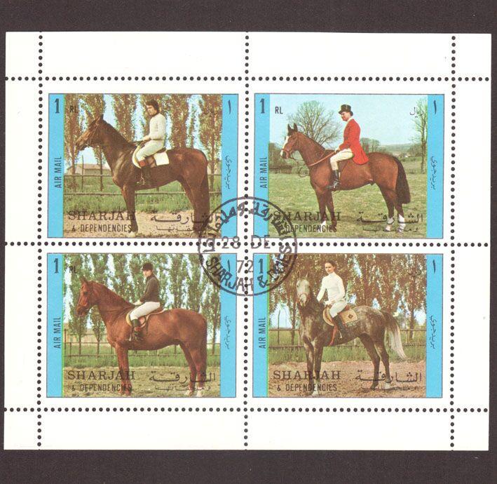 Colección de sellos de correo de caballo famoso mundial de Sharjah 1971