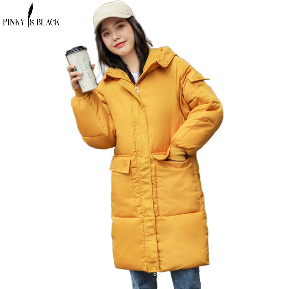 PinkyIsBlack moda 2020 Parka larga Mujer Otoño Invierno chaqueta abrigo bolsillos con capucha algodón invierno chaqueta abrigo para mujer Outwear