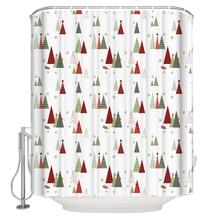Merry Christams Tree Cartoon Shower Curtain Waterproof Bathroom Curtain
