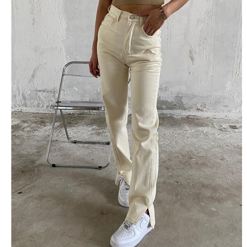 جينز موضة فضفاض للنساء بنطال نسائي عالي الخصر قابل للتمدد واسع الساق مريح غير رسمي من قماش الدنيم بنطلون أمي موديل 2021 بنطلون جينز مغسول