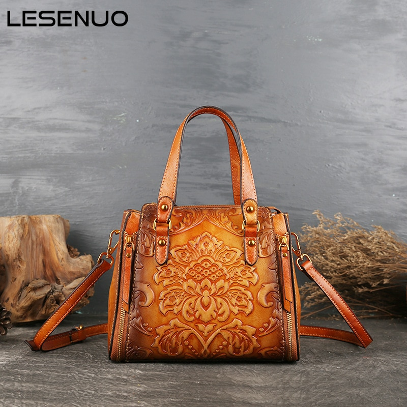 LESENUO Women's Messenger Bag PU Leather Retro Printing Mini Handbag Solid Color High Quality Luxury Shoulder Designer Handbag