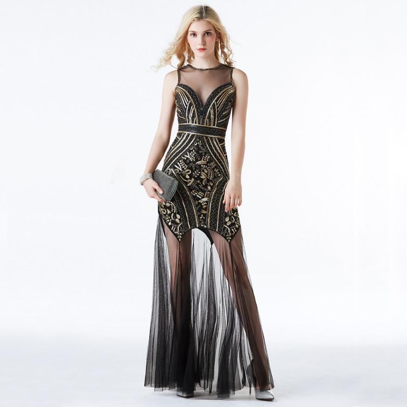 Yidingzs preto ouro lantejoulas miçangas longos vestidos de noite sexy festa vestido yd919