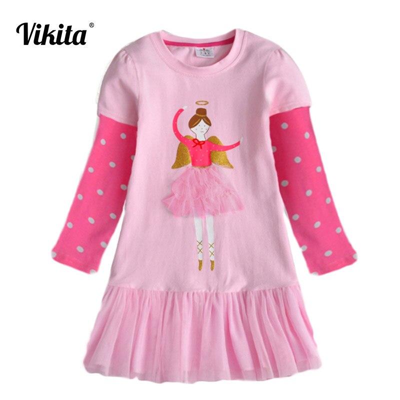 Vestidos de niñas VIKITA Vestidos de algodón de otoño para niños pequeños Vestidos de manga larga de dibujos animados Vestidos de princesa para niñas