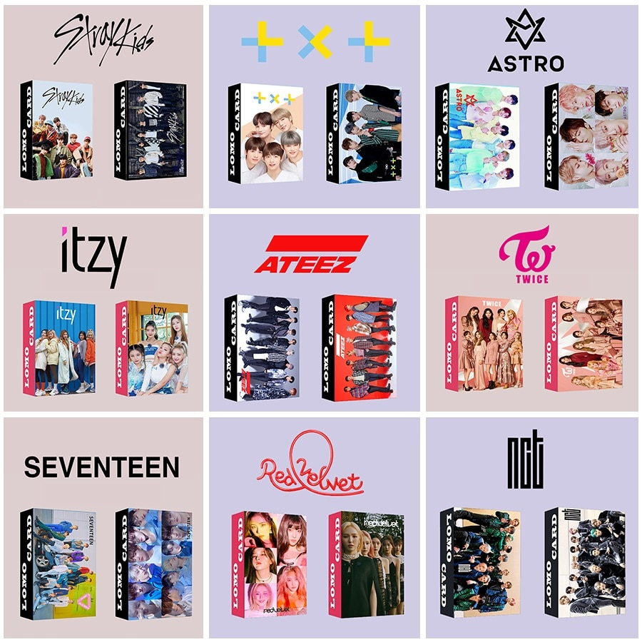 30pcs/set Kpop ATEEZ Lomo card Stray kids GOT7 TWICE TXT NCT 2020 ITZY ENHYPEN HD photo print album photocard for fans gifts