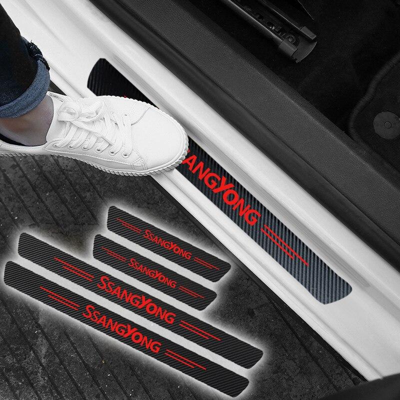 4 pçs impermeável adesivo de fibra carbono protetor para ssangyong kyron rexton korando actyon acessórios do carro automóveis Suporte de disco para carros    -