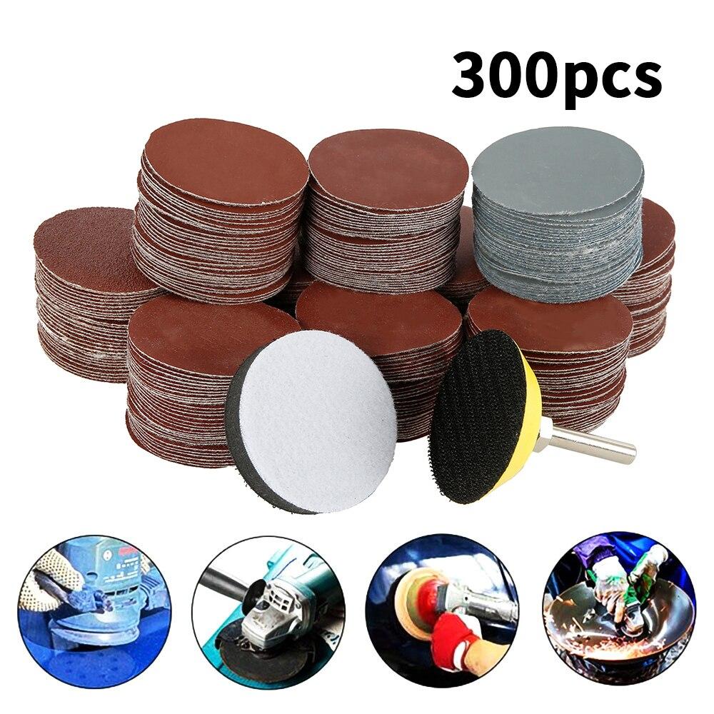 300 pezzi 80/180/240/320/800/3000 set di dischi abrasivi grana 2 pollici 50 mm + platorello ad anello con gambo da 3 mm per strumenti di lucidatura