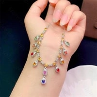 natural multicolor sapphire necklace 925 silver lady necklace candy color fresh and cute