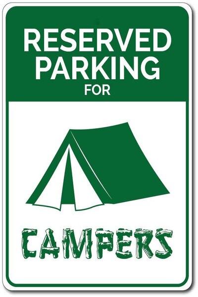 Señal de estacionamiento para campistas ¡regalo para amantes de las acampadas... letrero...