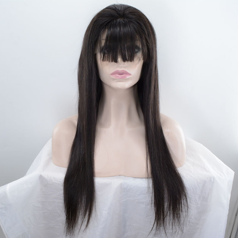 Remy Human Hair Lace Front Wig Hand-Tied Brazilian Hair straight Costume Full wig 150% Density Natural Hairline wigs