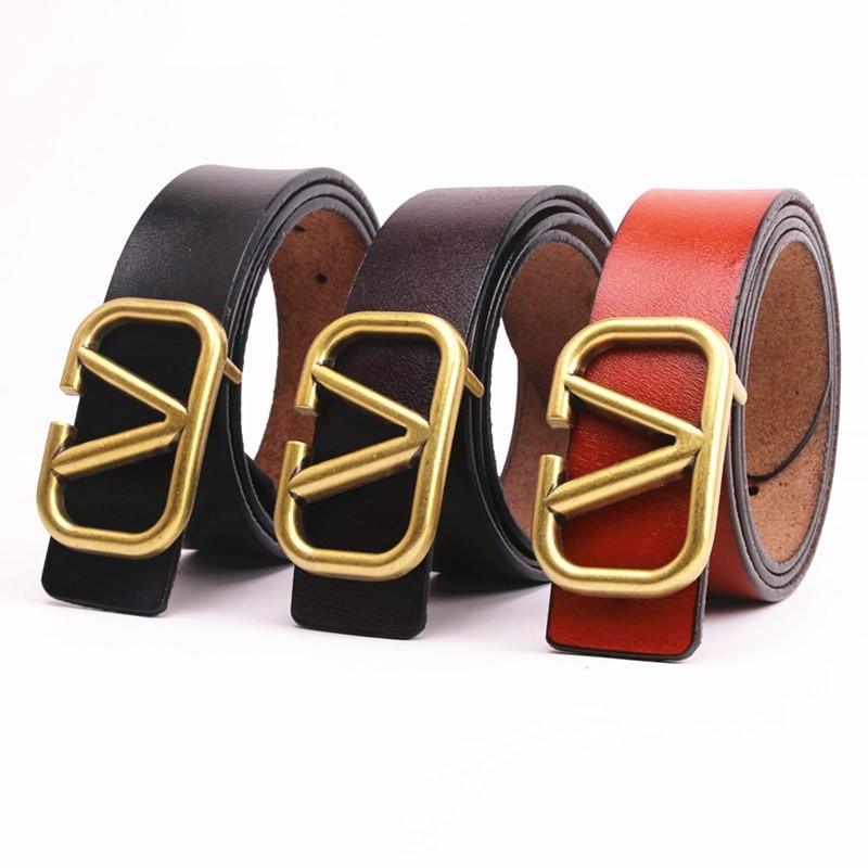 sumray v belt type b conveyor belts b90 91 92 93 94 95 96 97 98 99 100 triangle v belt for automobile transmisson 2020 Hottest  Women Cowskin Belts Vintage Metal V Buckle width 3cm Genuine Leather Belt Straps For Jeans belts