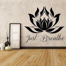 Mandala Blume Wand Aufkleber Zitate Nur Atmen Lotus Blume Wand Aufkleber Vinyl Buddha Meditation Yoga Studio Wohnkultur AD06