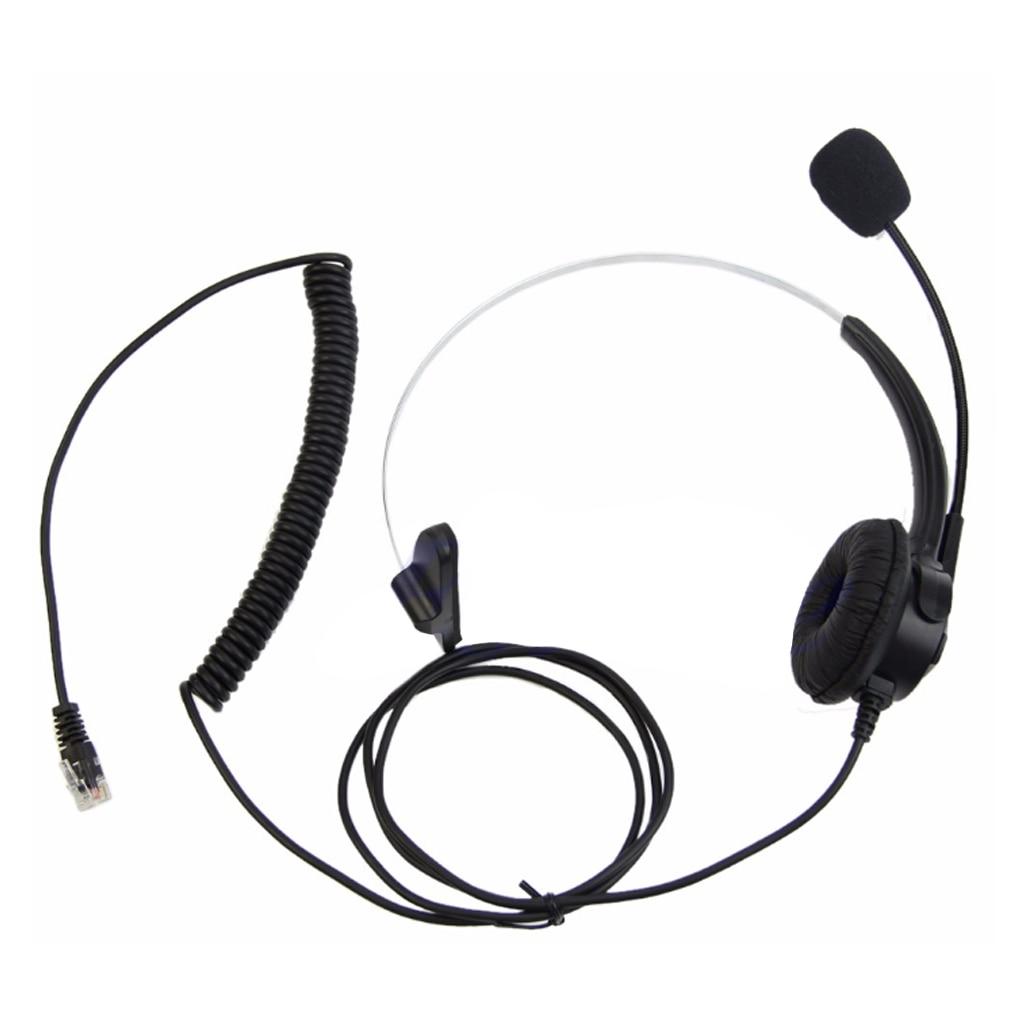 4-Pin RJ11 Monaural Corded Operator Call Center Telephone Headset Headphone BK U50D