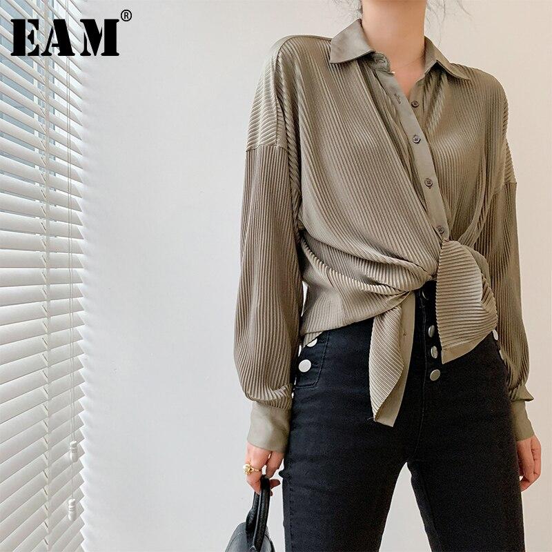 [EAM] Women Gray Pleated Split Big Size Blouse New Lapel Long Sleeve Loose Fit Shirt Fashion Tide Spring Autumn 2020 1W495