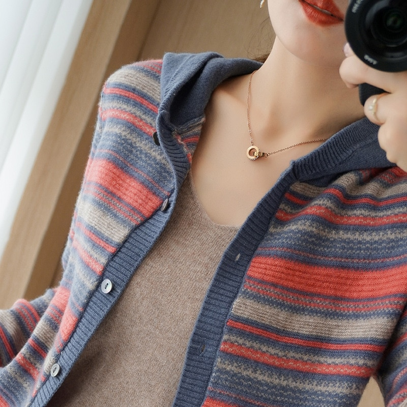 Autumn and winter new style hooded cashmere cardigan women's wool knit sweater striped sweater coat women enlarge