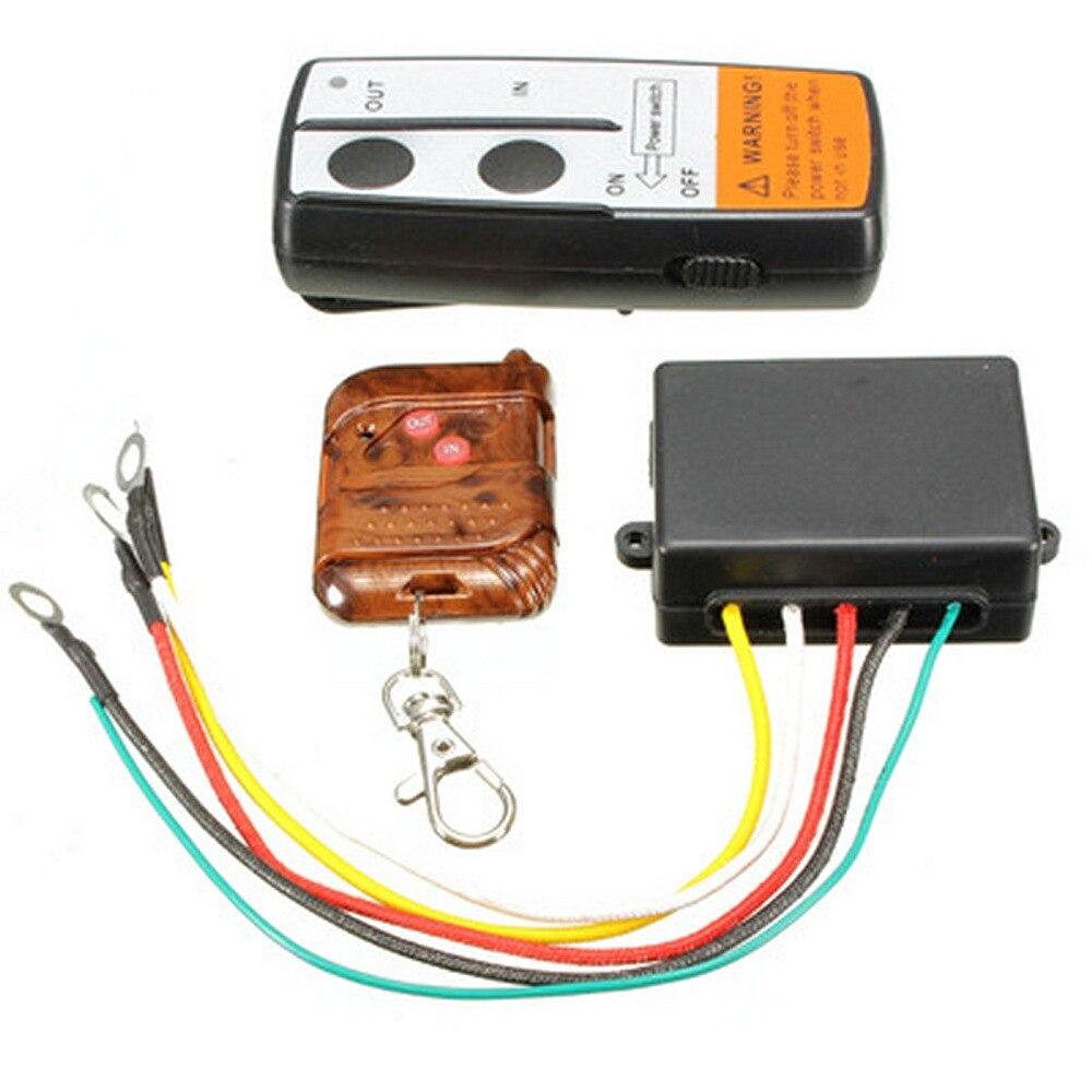 Universal Kit Conjunto De Controle Remoto Sem Fio Do Guincho Com Controles Remotos Para O Caminhão Jipe SUV ATV Para A Auto-recuperação Guincho Elétrico
