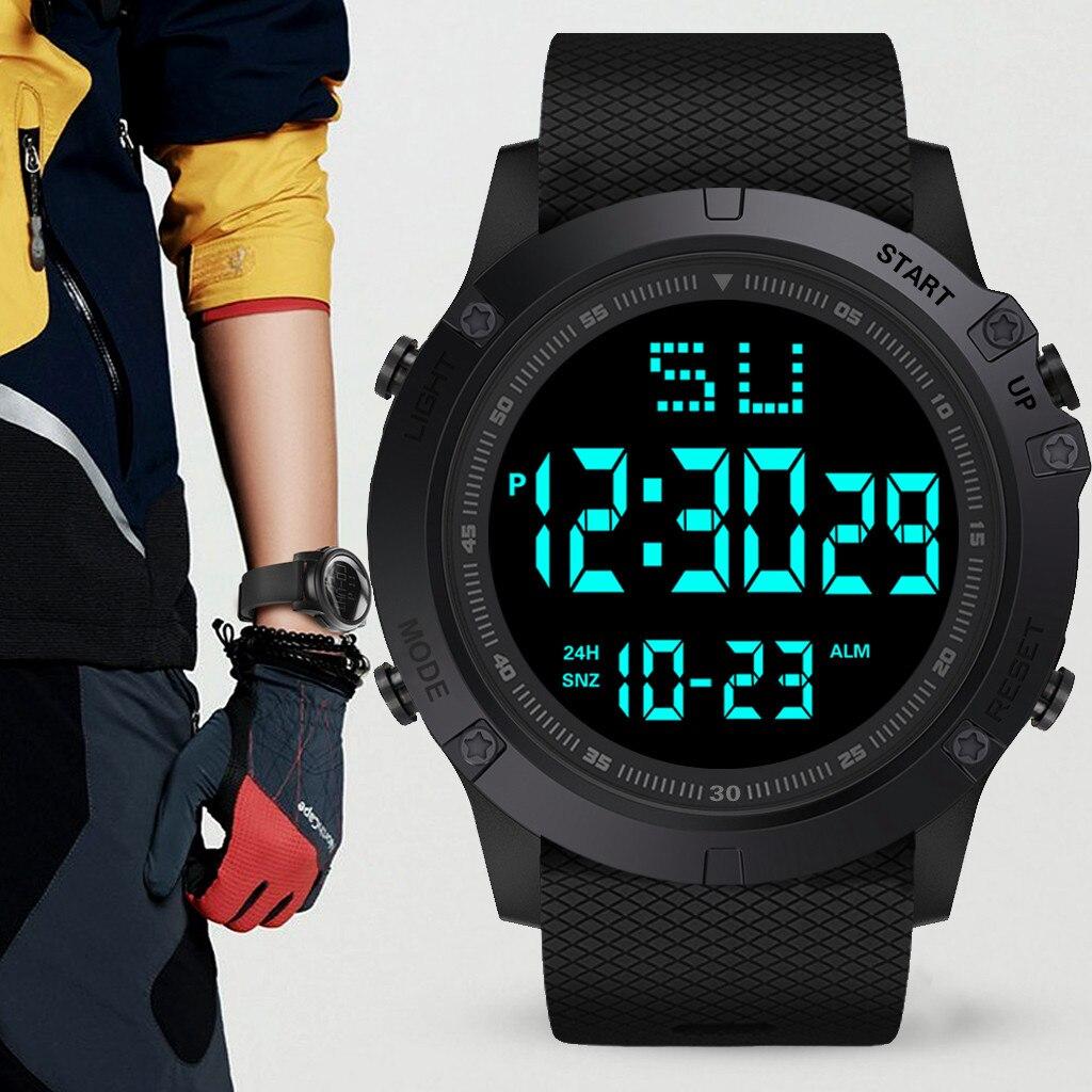 Moda homem led data digital militar esporte borracha relógio de quartzo alarme à prova dwaterproof água esportes relógio relogio masculino curren