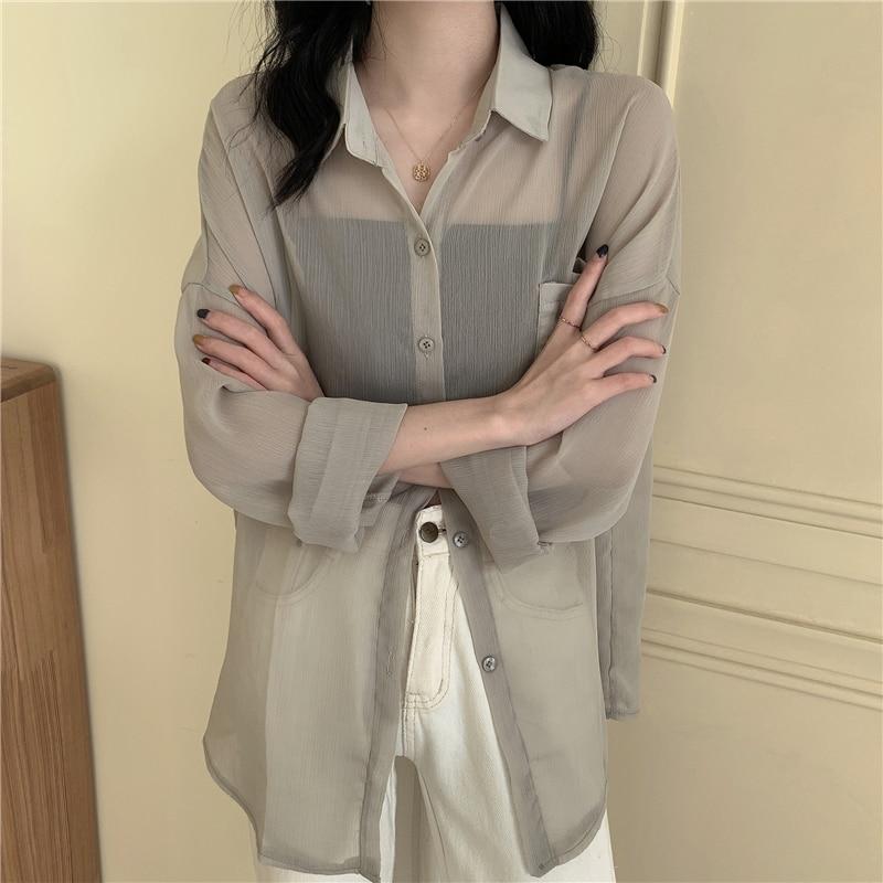 Chiffon Shirt Women's Summer Thin 2021 New Korean Style Loose All-Match Sheer Long Sleeve Sun Protec