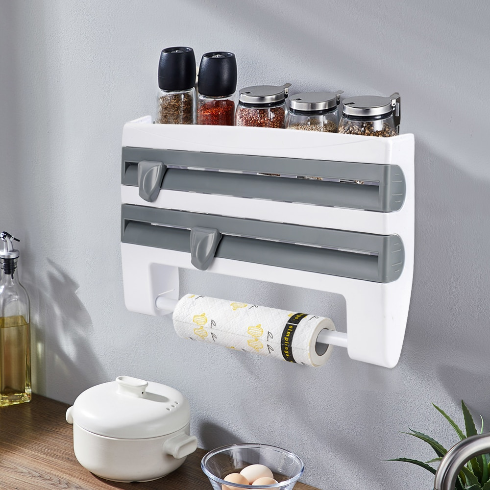 4 In 1 Kitchen Organizer Paper Towel Holder Cling Film Cutting  Holder Sauce Bottle Tin Foil Paper Storage Rack Kitchen Shelf