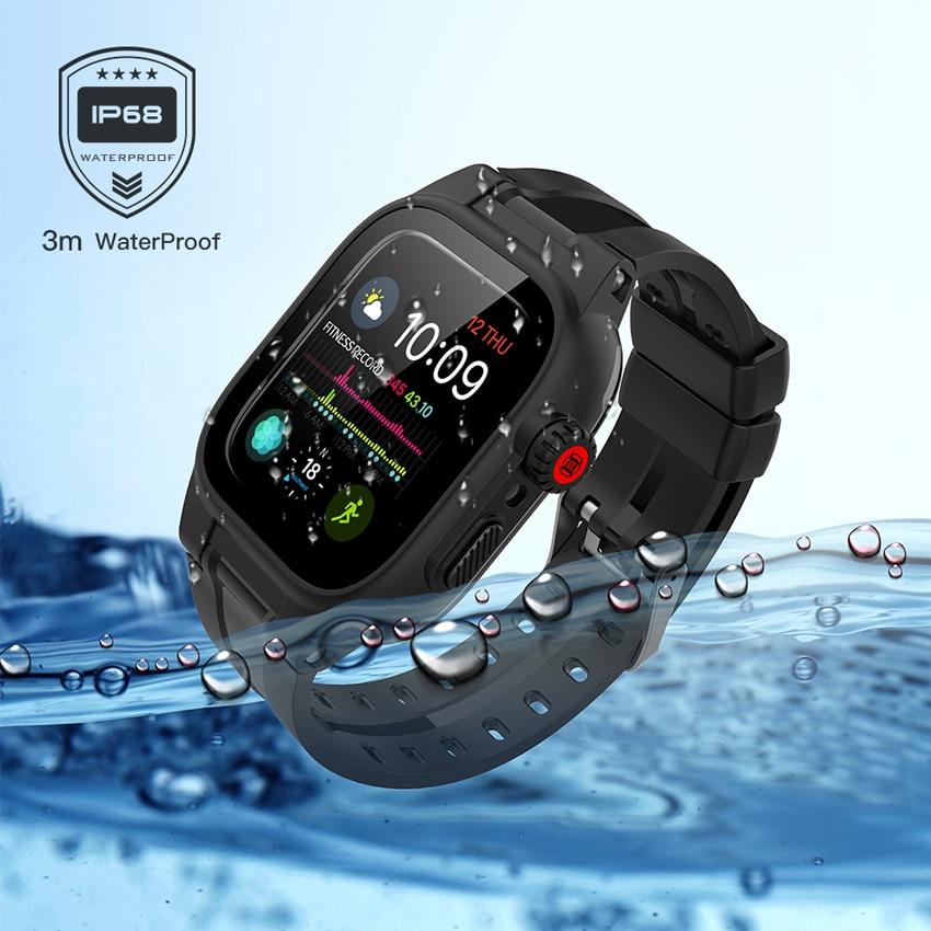 ShellBox IP68 مقاوم للماء ل أبل ساعة 6 5 4 3 2 SE 44 مللي متر 42 مللي متر 40 38 مللي متر درع غطاء الغوص السباحة في الهواء الطلق الرياضة مكافحة سقوط