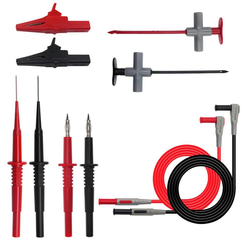 Juego de cables de prueba de 10 piezas para probador multímetro con sonda y pinza de aguja electrónica