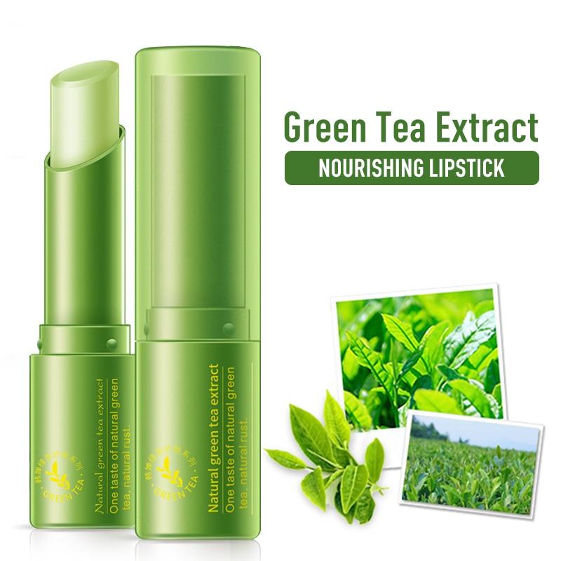 1PC Grün Tee Feuchtigkeit Lippen Balsam Langlebige Lippenstift Lip Balm Verbessern Lip Farbe Anti Aging Lippen Pflege feuchtigkeitsspendende Lip Balm TSLM1