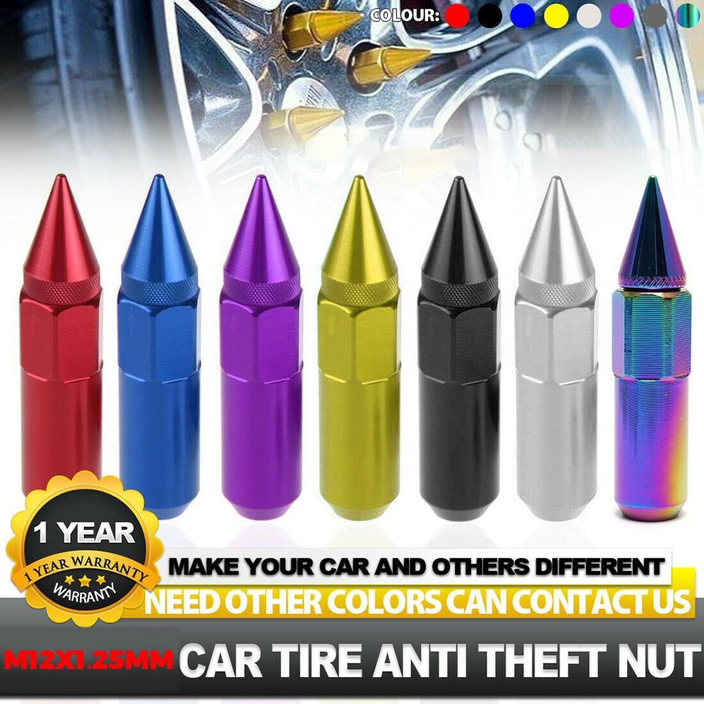 20 piezas M12x1.25mm tuercas subió extendido SINTONIZADOR DE ALUMINIO Llantas de ruedas de neumático de automóvil Universal tapa de la rueda detallado de coches # yl10