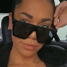 oversized square Sunglasses Women flat top men 2020 lady shades retro Designer brand fashion Glasses