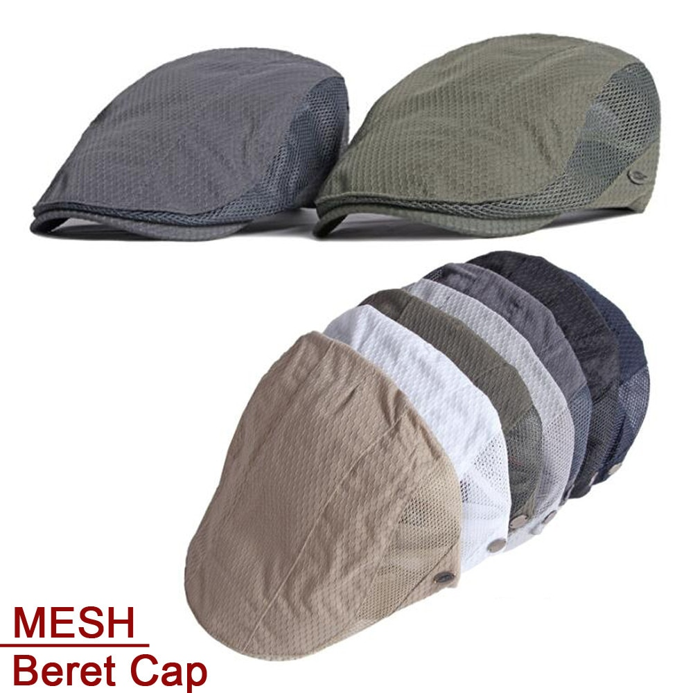2021 Mens Womens Beret Cap Summer Hat Berets Ivy Newsboy Flat Cap Male Female Breathable Mesh Cap Re
